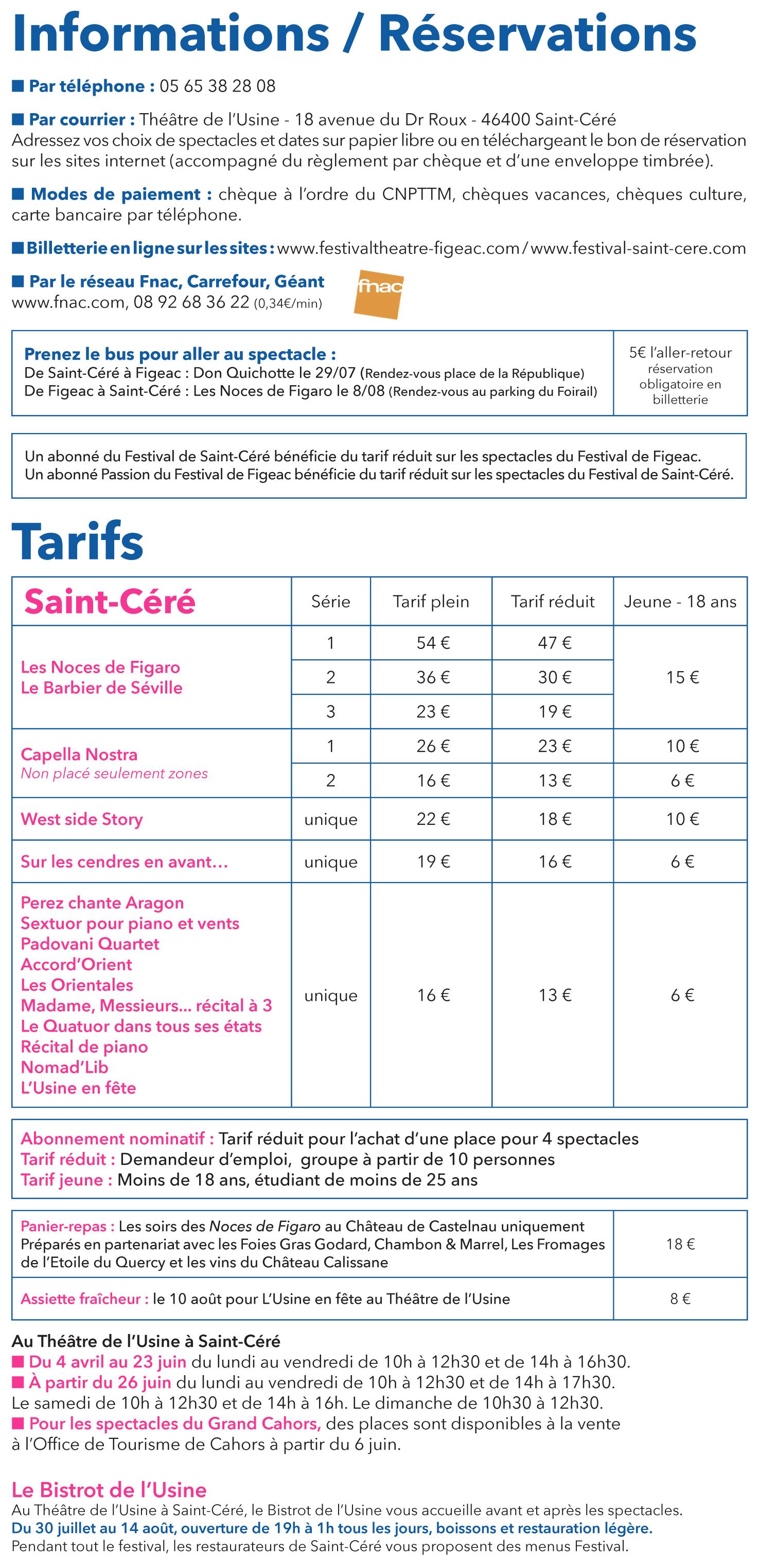 Page info et tarifs